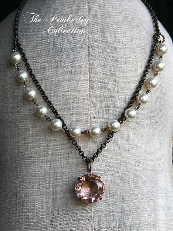 Estate Style Necklace, Pearl Necklace, Swarovski Pearl, Faceted Stone, Blush Necklace, Pink Necklace