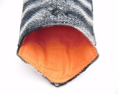 iPad Cozy Sleeve, Hand Knitted Sleeve, Padded Tablet Sleeve, Orange and Grey Gadget Cozy - Bright Orange lining, Gray and Black melee