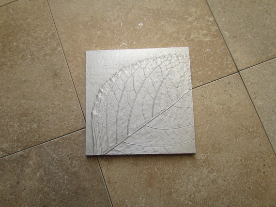 Hydrangea Leaf I Botanical Tile, 4 x 4 inch, Recycled Cast Aluminum Wall Art, Made to Order