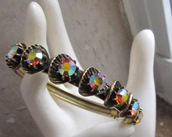 Vintage Florenza - Aurora Borealis - Rhinestone Bangle Bracelet - etched bracelet -  EPSTEAM - mid-century - Hollywood Glam - arm candy
