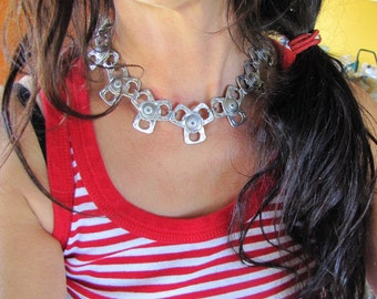Recycled pull tab silver colour chain Necklace, Stylish, Unique, Eco Friendly