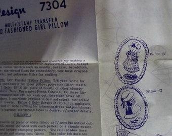 Vintage Sunbonnet Girl pillow pattern Design number 7304