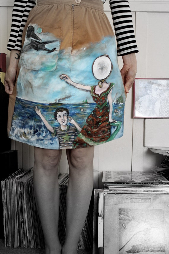 Neutral Milk Hotel: in the aeroplane over  the sea - Hand-Painted on a high waist Calvin Klein skirt