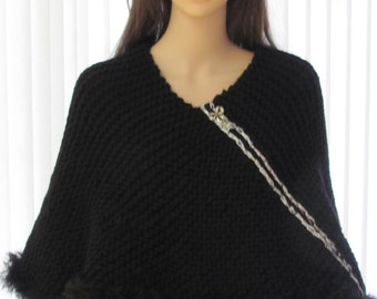 Knitted Black Poncho, hand knitted, bulky weight,  acrylic fun fur trim yarn, with silver accent and removable brooch
