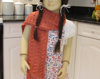 READY TO SHIP : Hat and Scarf set, hand knitted,  for  a  girl in a rose shade yarn, crocheted flower