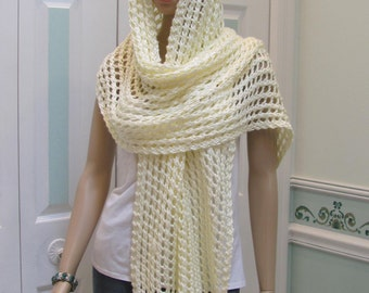 ELEGANT, Shawl/Pashmina, off  white, cream color, hand knitted, light weight, open pattern, extra long