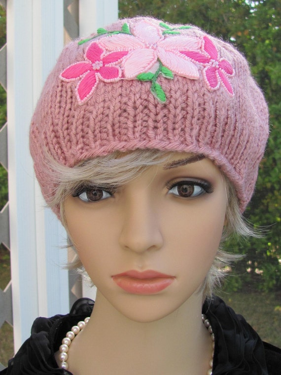 HAT AND SCARF set, Dusty Pink, adult, hand knitted with embroided applique