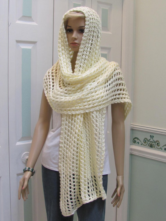 READY TO SHIP : Shawl/Pashmina, off  white, cream color, hand knitted, light weight, open pattern, extra long