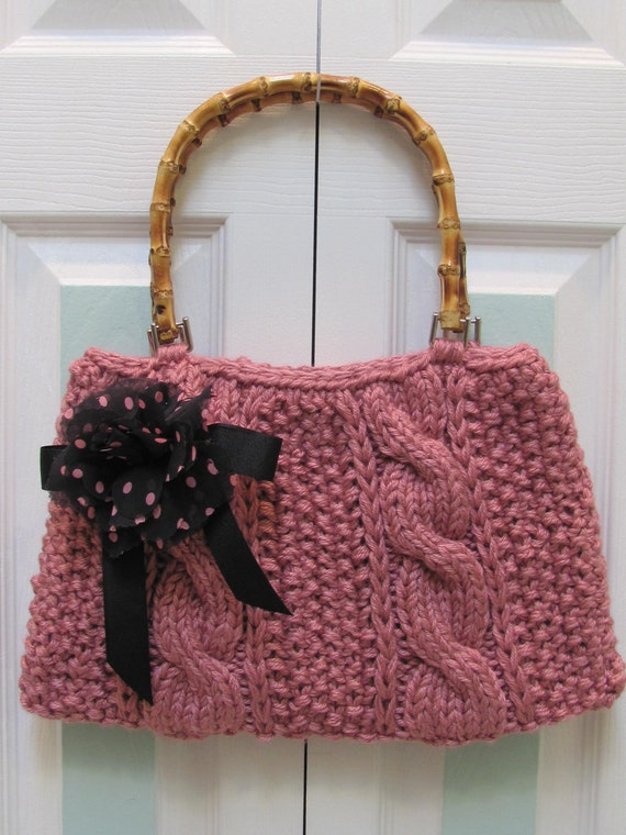 KNIT HANDBAG /PURSE: Plum Rose,  Large, purse, handknitted in  a cable stitch, fully lined, with wood bamboo handles and silk flower
