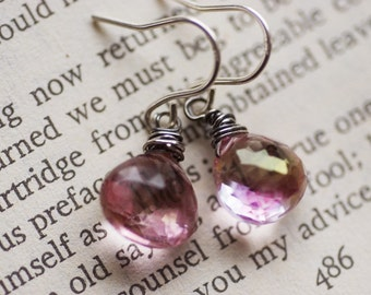 Pink and sterling silver earrings