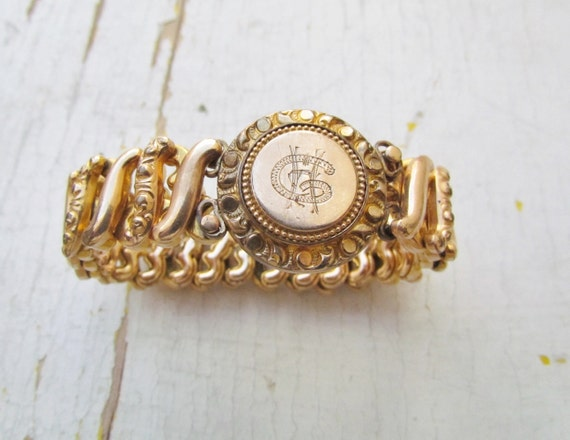 Antique Victorian Expansion Bracelet With Monogram c.1890s