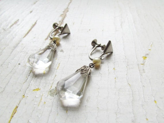 SALE-Antique Art Deco Earrings/ Chrome Faux Pearl and Glass Drop Earrings c.1920s