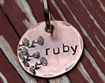 Custom Dog Tag / Cat Tag -  Ruby in 1'' Hand Stamped Copper