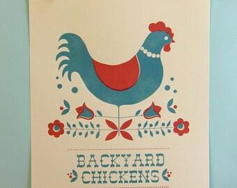 Backyard Chickens in Red Print