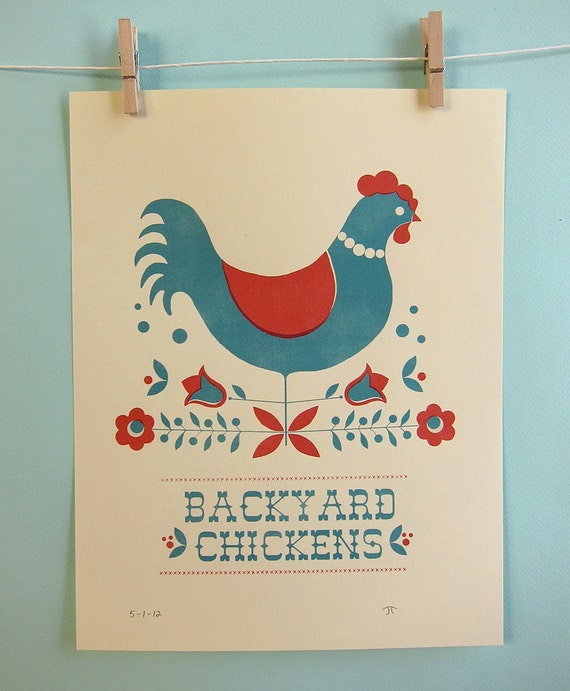 Backyard Chickens in Red Print