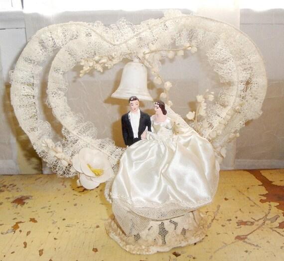 Wedding Cake Toppers Vintage: Vintage Wedding Cake Topper Bride Groom Heart 1950s Chalk