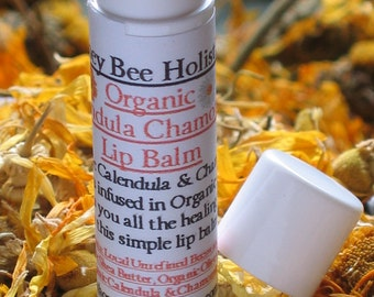 Organic Calendula Chamomile Lip Balm made with Fair Trade Shea butter - Heals and protects - in twist up tube