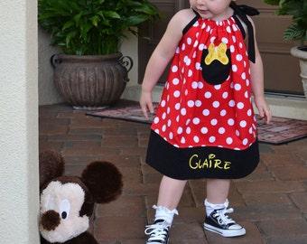 Personalized Disney Minnie Mouse Pillowcase Dress Size 6 Mo to Size 8