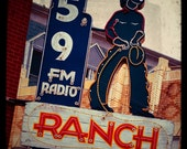 Fine Art Photo, Cowboys, Neon Sign, FM Radio, Fort Worth Texas, TTV Photo, Ranch, Vintage, Western Decor, Radio, Country Music, 8x8 Print