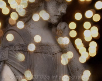 Angel Art, Fine Art Photography, Statue, Cemetery Photo, Home Wall Decor, Bokeh, Religion, 8 x 10 Fine Art Print, Golden Light, Gothic Decor
