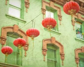 San Francisco Photo, Chinatown, Fine Art Photography, Paper Lanterns, Wall Art, Cityscape, California, Travel Photography, Home Decor, Print