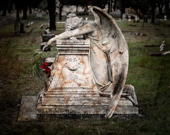 Cemetery Photography, Weeping Angel, Wall Art, Mourning, Condolence Gift, Angel Wings, Gothic Decor, Fine Art Print, Religious Wall Art