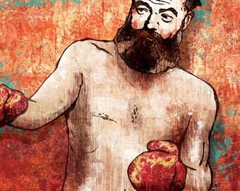 Ernest Hemingway, Boxer art poster - 12x18 High Quality Art Print