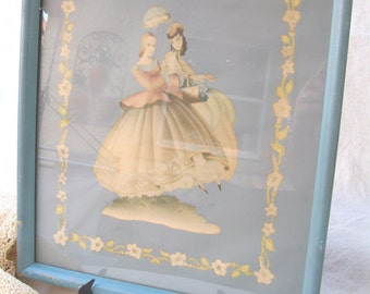 vintage french picture.mademoiselles.nursery.bedroom.40's.shabby.chippy frame.tessiemay vintage