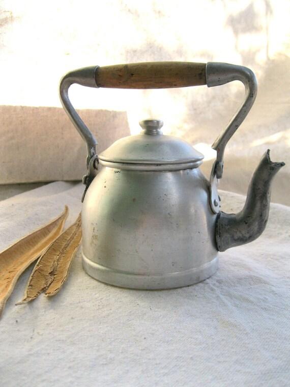 Vintage Teakettle-Italian-Children's-Metal-European-Rustic-Farm from Tessiemay