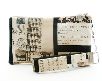 Italian phone wristlet is a fabric bag with vintage photo travel collage featuring the leaning Tower of Pisa, Italy