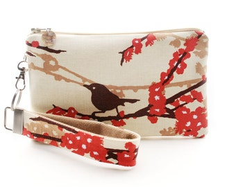 Bird purse is a small fabric wristlet - womens fashion accessories gift ideas made in US