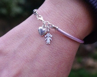 Dainty Charm Leather Bracelet, Pink Charm Bracelet, Heart Charm Bracelet, All Colors leather bracelet Sterling silver Child and Heart Charms