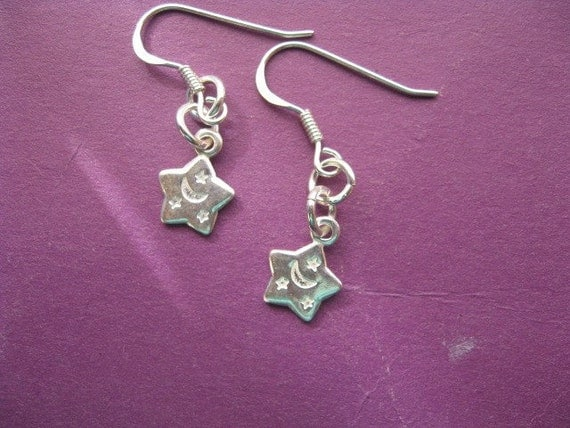 Silver Star Earrings, Little Star Earrings, Teenager Earrings, Moon and Stars Nursery Rhyme Silver Earrings, Simple Earrings