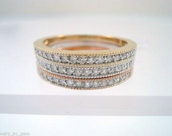 Half Eternity Diamond Wedding Three Bands Anniversary Rings Stackable 14K Multi Tone Gold Handmade 0.54 Carat handmade