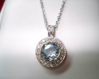 Aquamarine & Diamonds Pendant Necklace 14K White Gold 0.95 Carat HandMade