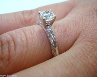 Diamond Engagement Ring 0.73 Carat 14K White Gold Handmade Micro Pave Certified