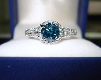 1.41 Carat Vivid Blue Diamond Engagement Ring 14K White Gold Halo Split Shank Certified Handmade