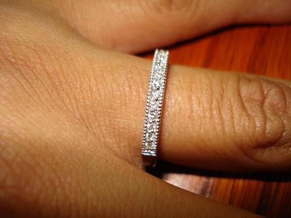 Diamond Wedding Band Half Eternity Ring 0.18 Carat 14K White Gold Pave