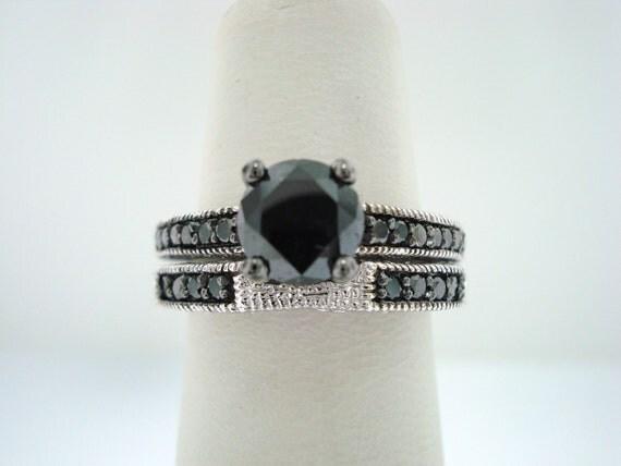 Fancy Black Diamond Engagement Ring & Wedding Band Sets 14K White Gold 1.41 Carat Bridal Sets handmade