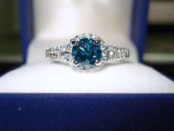 Blue Diamond Engagement Ring 1.32 Carat 14K White Gold Halo Certified Handmade