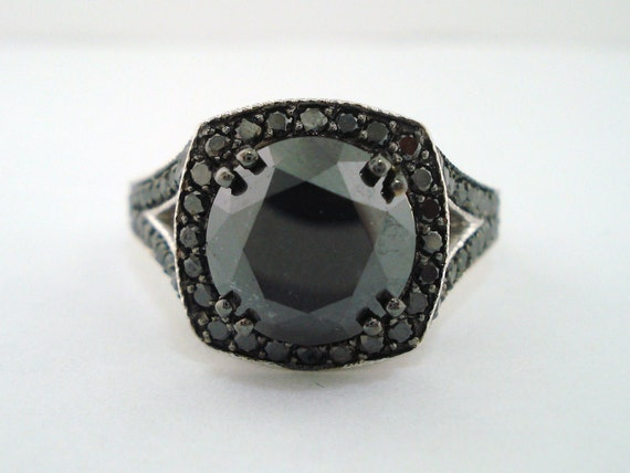 4.35 Carat Fancy Black Diamond Engagement Ring 14K White Gold Pave Set Vintage Style Handmade Certified