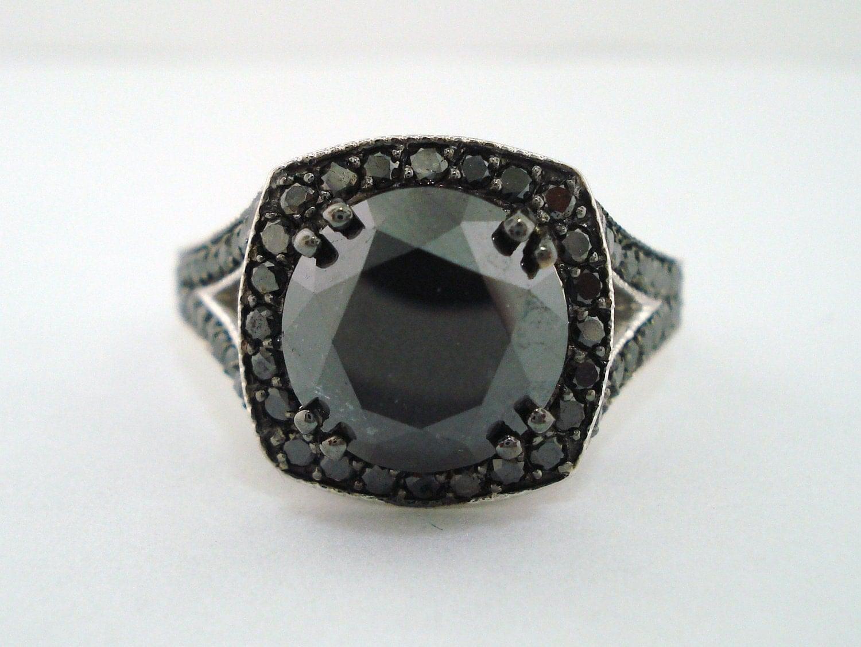4 35 carat fancy black engagement ring 14k white gold