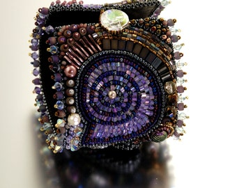 Crystal Ammonite Statement Bracelet Cuff -MADE to ORDER- Chunky Bracelet, Bead Embroidered, Purple Glass, Crystals, Pearls, Leather