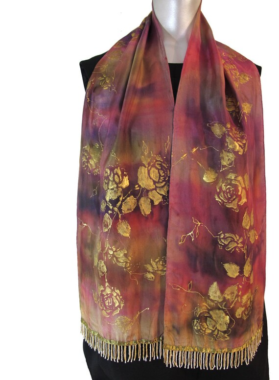 Hand-Painted Silk Scarf Roses in Metallic Gold With Fringe