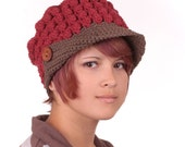 Recycled Cotton Newsboy Hat in Brick Red and Earth