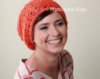 SALE - Organic Cotton Yoga Beret in Mandarin Orange