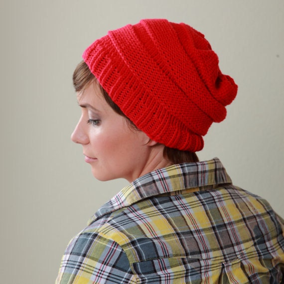 Knit Hat Pattern for Beehive Beret - Shambala Easy Knit Hat