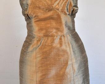 Cocktail dress silk shantung dupioni sleeveless sheath V neck custom made to order