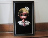 vintage 1960s Black Velvet Painting - Big Eye Sailor Boy or Girl Framed Art