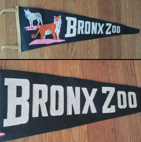 vintage 1960s Zebra and Tiger BRONX ZOO pennant - navy blue NYC New York City flag